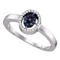 10kt White Gold Round Blue Color Enhanced Diamond Cluster Ring 1/6 Cttw