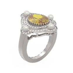 4.18 ctw Canary Citrine & Diamond Ring 18K White Gold