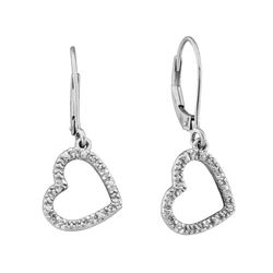 14kt White Gold Round Diamond Heart Dangle Earrings 1/20 Cttw