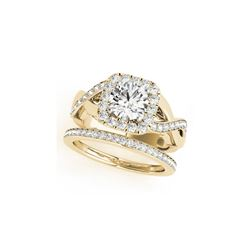 1.75 ctw Certified VS/SI Diamond 2pc Wedding Set Halo 14K Yellow Gold