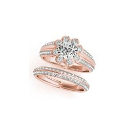 1.86 ctw Certified VS/SI Diamond 2pc Wedding Set Halo 14K Rose Gold