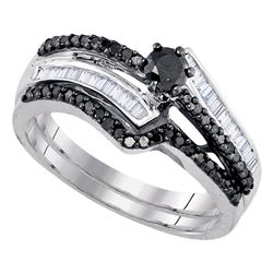 Sterling Silver Round Black Color Enhanced Diamond Bridal Wedding Engagement Ring Band Set 5/8 Cttw