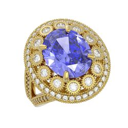 6.96 ctw Certified Tanzanite & Diamond Victorian Ring 14K Yellow Gold
