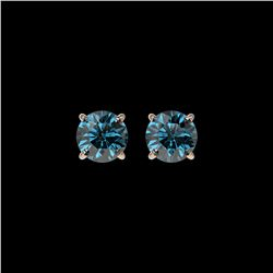 1 ctw Certified Intense Blue Diamond Stud Earrings 10K Rose Gold