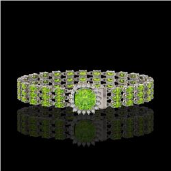 29.26 ctw Peridot & Diamond Bracelet 14K White Gold