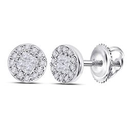 14kt White Gold Princess Diamond Fashion Cluster Earrings 1/6 Cttw