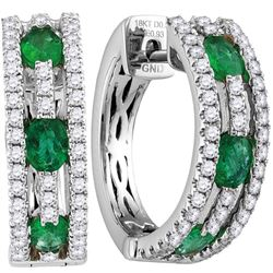 18kt White Gold Oval Emerald Diamond Hoop Earrings 1-1/2 Cttw