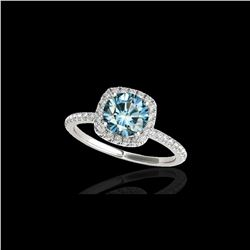 1.25 ctw SI Certified Fancy Blue Diamond Halo Ring 10K White Gold