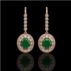 9.25 ctw Certified Emerald & Diamond Victorian Earrings 14K Rose Gold