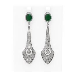 9.69 ctw Emerald & Diamond Earrings 18K White Gold