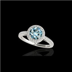 1.55 ctw SI Certified Fancy Blue Diamond Halo Ring 10K White Gold