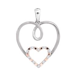 10kt White Gold Round Diamond Rose-tone Double Nested Heart Pendant 1/20 Cttw