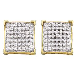 10kt Yellow Gold Round Diamond Square Cluster Screwback Earrings 1/3 Cttw