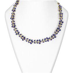 121.83 ctw Sapphire & Diamond Necklace 18K Yellow Gold