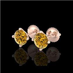 2 ctw Intense Fancy Yellow Diamond Art Deco Earrings 18K Rose Gold