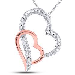 10kt Two-tone Gold Round Diamond Double Heart Pendant 1/12 Cttw