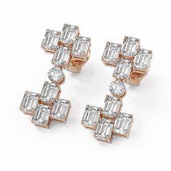 4.58 ctw Emerald Cut Diamond Designer Earrings 18K Rose Gold