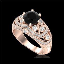 2 ctw Fancy Black Diamond Engagement Art Deco Ring 18K Rose Gold