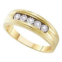 10kt Yellow Gold Mens Round Illusion-set Diamond Wedding Band Ring 1/10 Cttw