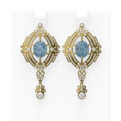 10.34 ctw Blue Topaz & Diamond Earrings 18K Yellow Gold