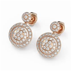 2 ctw Diamond Designer Earrings 18K Rose Gold