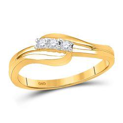 10kt Yellow Gold Round Diamond 3-stone Bridal Wedding Engagement Ring 1/10 Cttw