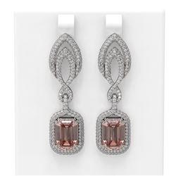 12.66 ctw Morganite & Diamond Earrings 18K White Gold