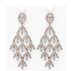 10.72 ctw Diamond Earrings 18K Rose Gold