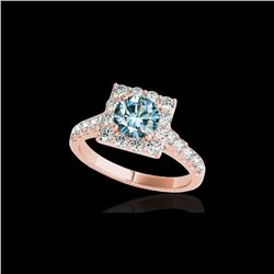 2.5 ctw SI Certified Fancy Blue Diamond Solitaire Halo Ring 10K Rose Gold