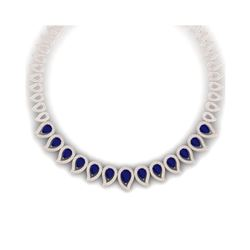 33.4 ctw Sapphire & VS Diamond Necklace 18K Rose Gold