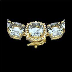87 ctw Sky Blue Topaz & VS/SI Diamond Micro Necklace 14K Yellow Gold