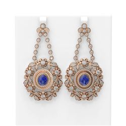 24.13 ctw Tanzanite & Diamond Earrings 18K Rose Gold