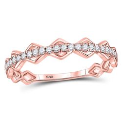 10kt Rose Gold Round Diamond Link Stackable Band Ring 1/5 Cttw