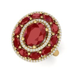 8.05 ctw Designer Ruby & VS Diamond Ring 18K Yellow Gold