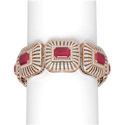 56.47 ctw Ruby & Diamond Bracelet 18K Rose Gold