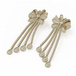 17 ctw Diamond Designer Earrings 18K Yellow Gold