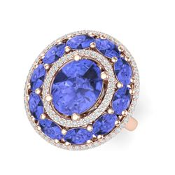 8.49 ctw Tanzanite & VS Diamond Ring 18K Rose Gold
