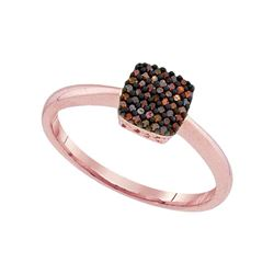10kt Rose Gold Round Red Color Enhanced Diamond Square Cluster Ring 1/8 Cttw