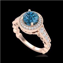1.91 ctw Fancy Intense Blue Diamond Art Deco Ring 18K Rose Gold