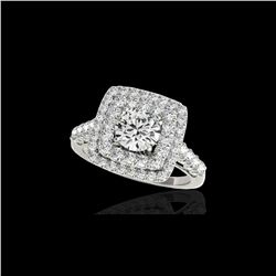 2.3 ctw Certified Diamond Solitaire Halo Ring 10K White Gold