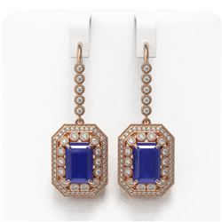 14.16 ctw Sapphire & Diamond Victorian Earrings 14K Rose Gold