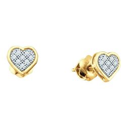 10kt Yellow Gold Round Diamond Dainty Heart Cluster Screwback Earrings 1/20 Cttw