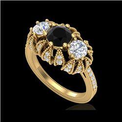 2.26 ctw Fancy Black Diamond Art Deco 3 Stone Ring 18K Yellow Gold