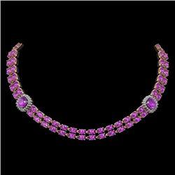 31.91 ctw Amethyst & Diamond Necklace 14K Rose Gold