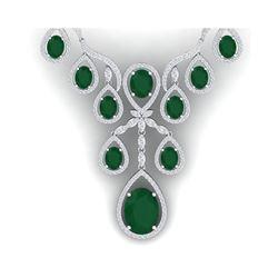 37.66 ctw Emerald & VS Diamond Necklace 18K White Gold