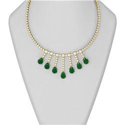 39.27 ctw Emerald & Diamond Necklace 18K Yellow Gold