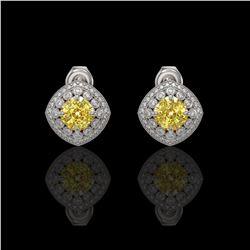 3.89 ctw Canary Citrine & Diamond Victorian Earrings 14K White Gold
