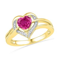 10kt Yellow Gold Round Lab-Created Pink Sapphire Heart Ring 1.00 Cttw