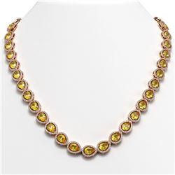 33.35 ctw Fancy Citrine & Diamond Micro Pave Halo Necklace 10K Rose Gold