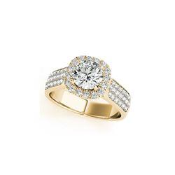 1.8 ctw Certified VS/SI Diamond Halo Ring 18K Yellow Gold